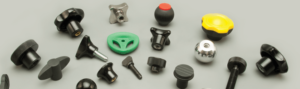 Many different kinds of hand knobs for industrial machines.