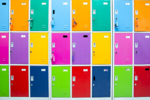 Colorful staff room lockers with cam locks