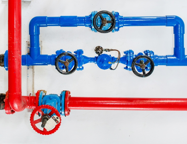 A photo of pipes after maintenance using new industrial components