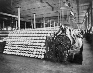 Vintage image of industrial textiles factory.