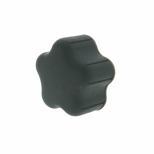 A 5-lobe soft plastic hand knob with a tapped hole