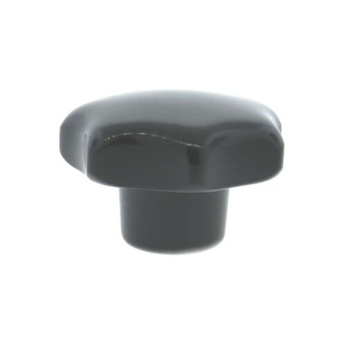 A 7-lobe phenolic hand knob with a tapped hole