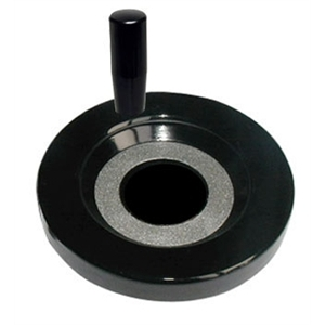 A solid duroplast handwheel with a revolving handle