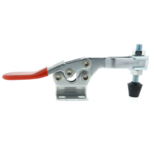A horizontal steel toggle clamp