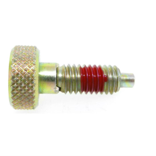 A knurled knob plunger with a non-locking nose and with a nylon patch
