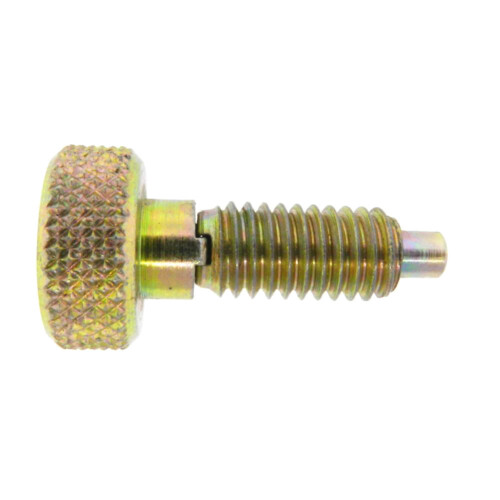 A knurled knob plunger with a non-locking nose and without a nylon patch
