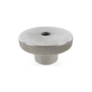 A knurled control knob with a tapped thru hole (metric)