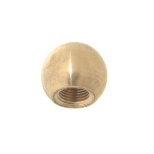A brass ball knob with a tapped hole