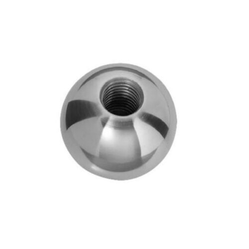 A stainless steel ball knob with a tapped hole