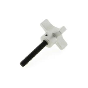 A 4-lobe aluminum hand knob with a threaded rod (metric)