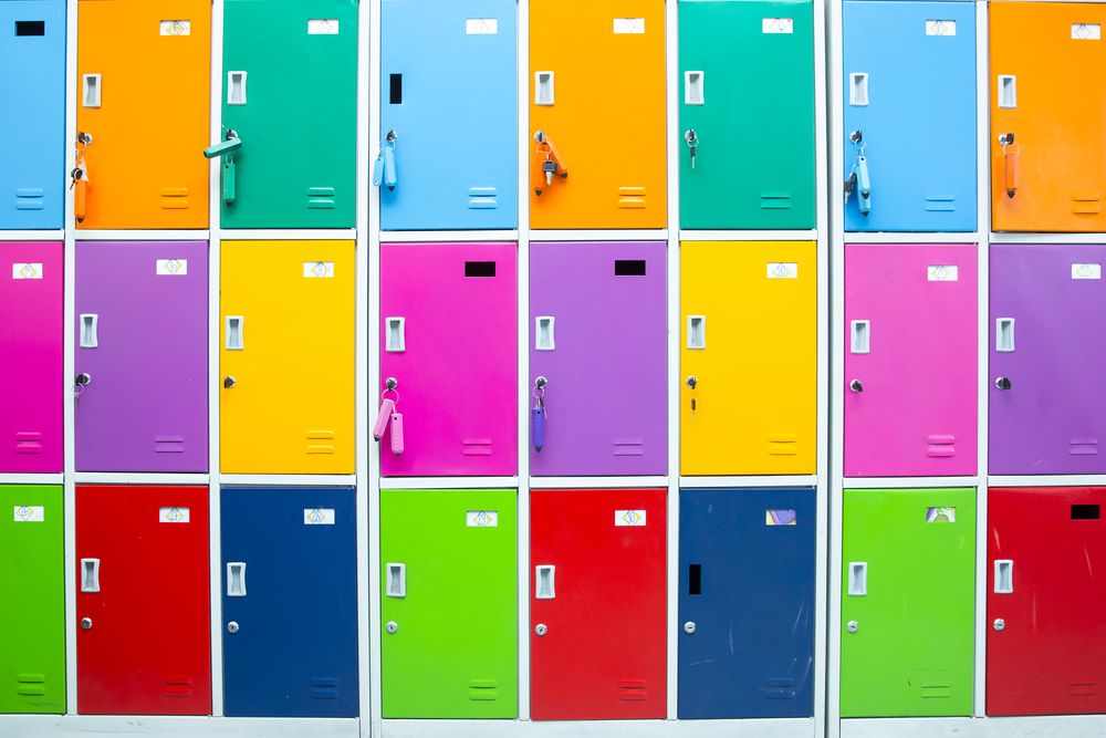 Colorful staff room lockers with cam locks