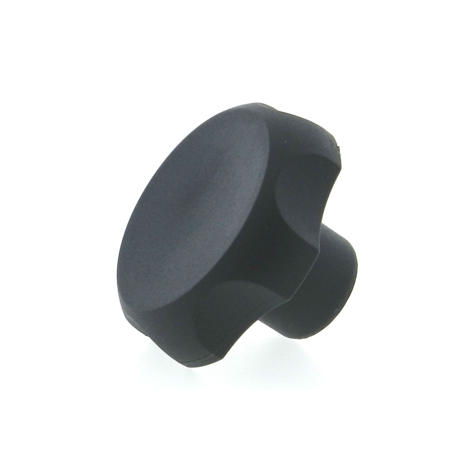 A thermoplastic 6-lobe knob with a tapped hole