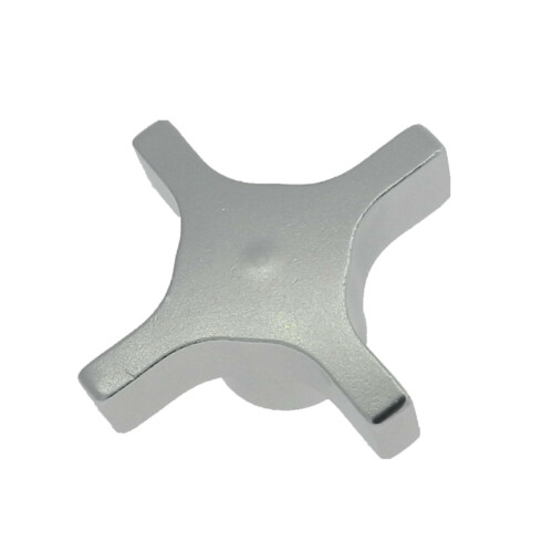 A 4-lobe aluminum hand knob with a tapped hole (inch)