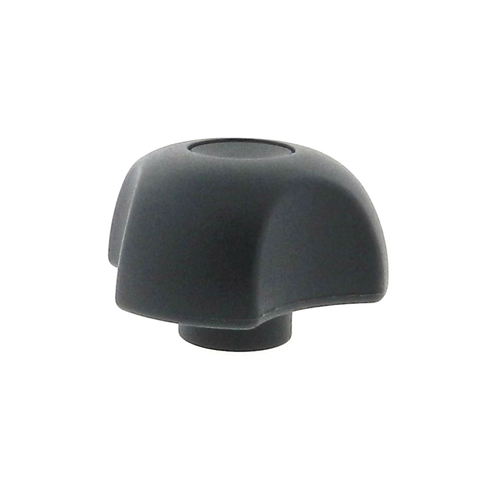 A thermoplastic 3-lobe knob with a stainless steel tapped hole