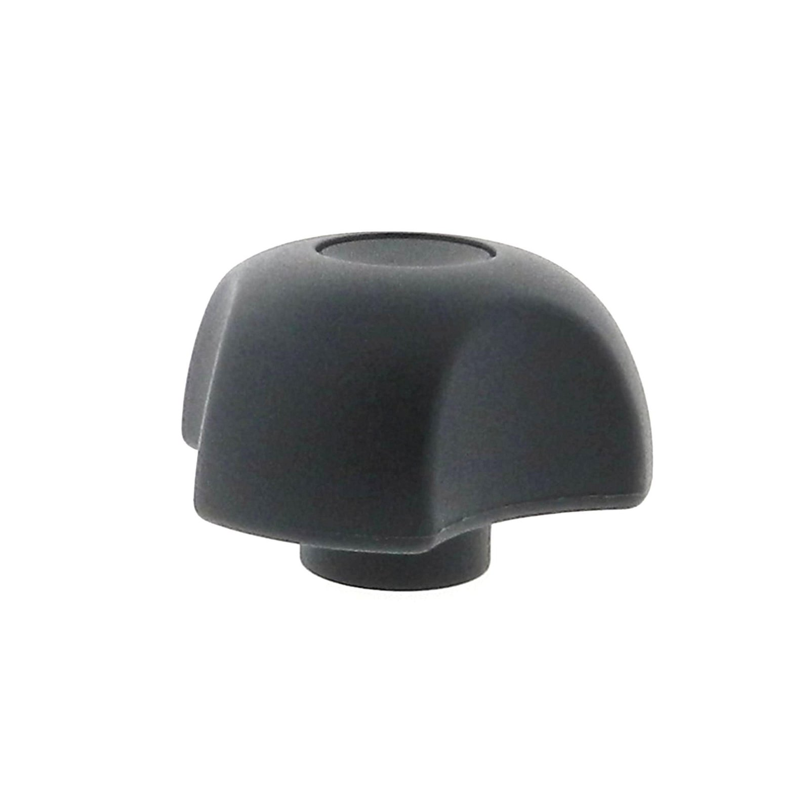 A thermoplastic 3-lobe knob with a brass tapped hole