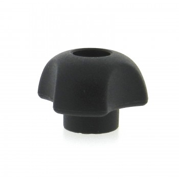 A thermoplastic 3-lobe knob with a tapped thru hole