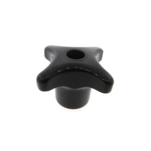 A 4-lobe phenolic hand knob with a tapped thru hole