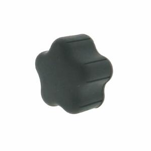 A 5-lobe soft plastic hand knob with a tapped hole