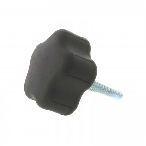 A 5-lobe soft plastic hand knob with a threaded rod