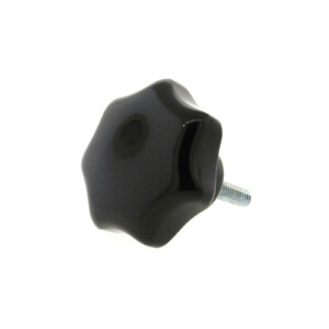 A 7-lobe phenolic hand knob with a threaded rod