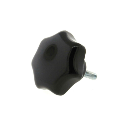A 7-lobe phenolic hand knob with a threaded rod
