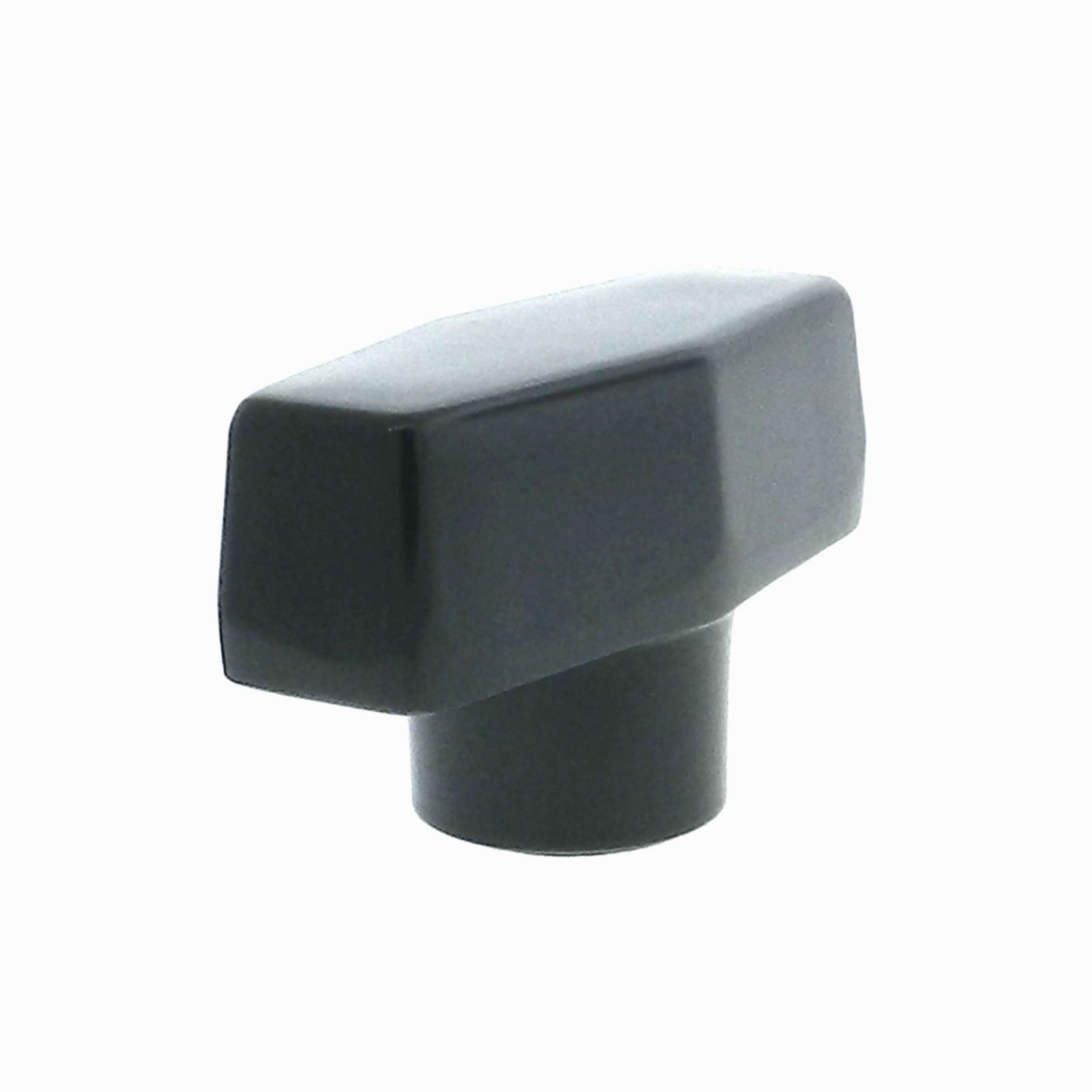 A t-handle phenolic hand knob with a tapped hole