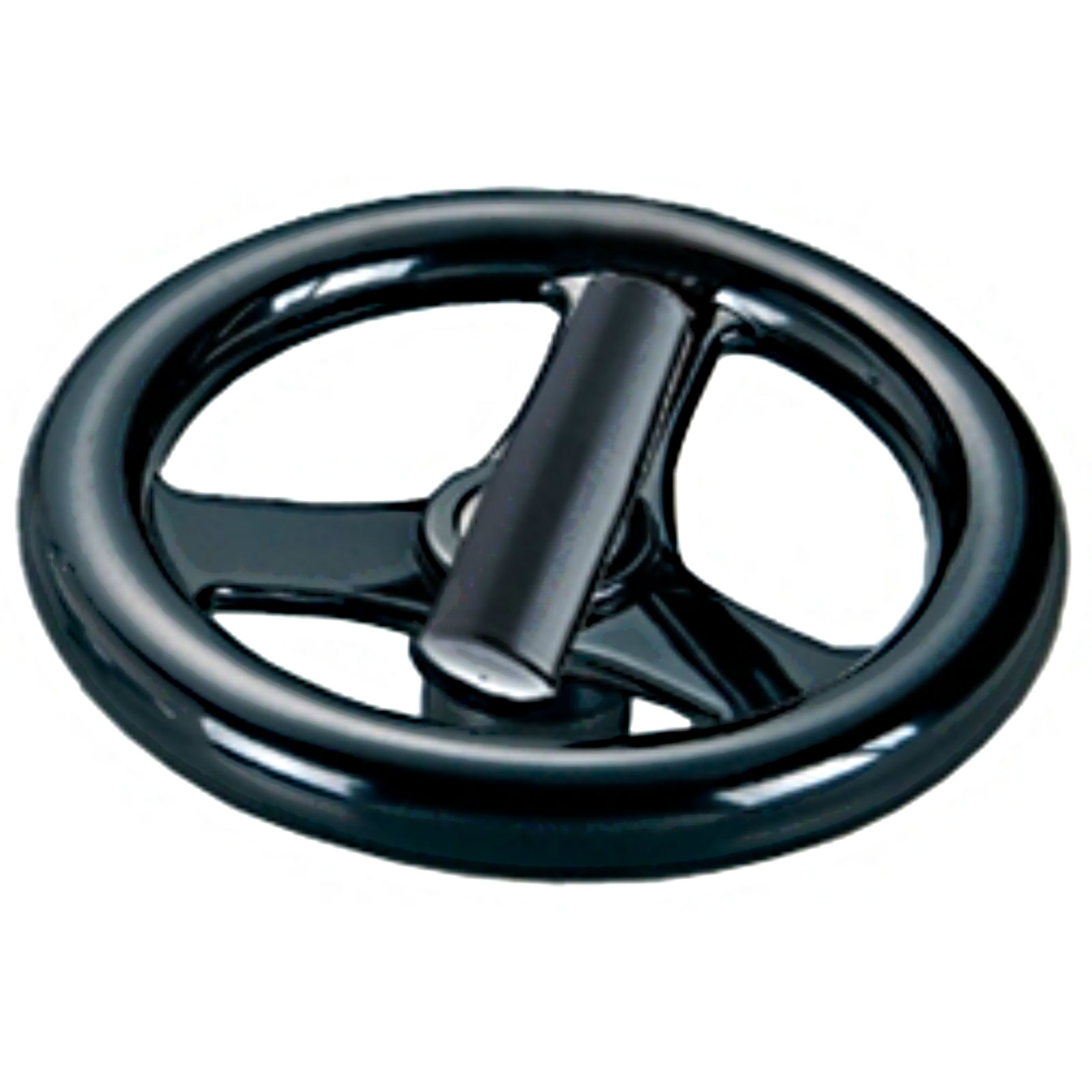 A phenolic 3-spoke handwheel with a folding handle
