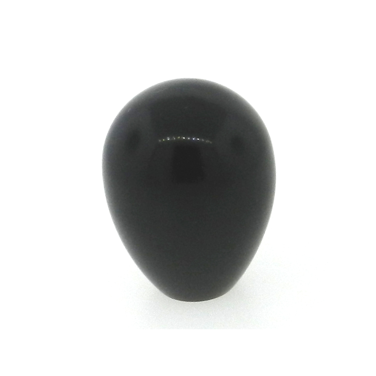 A phenolic polished oval knob with a tapped hole