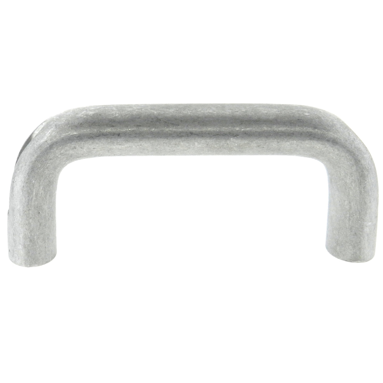 An aluminum top mount cabinet handle with a tumbled finish