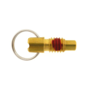 A stubby pull ring plunger with a locking nose and a nylon patch
