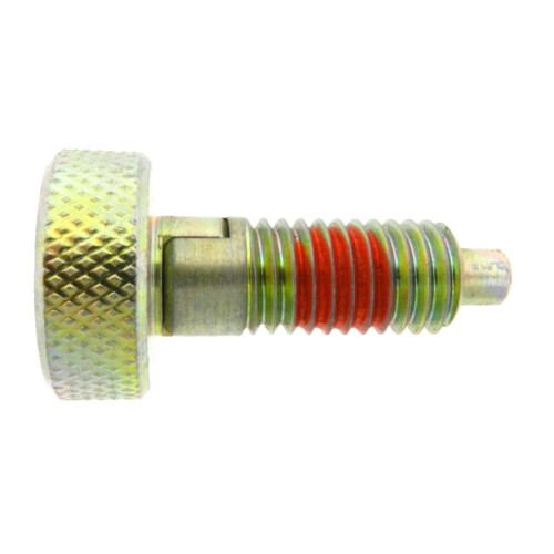 A knurled knob plunger with a locking nose and with a nylon patch