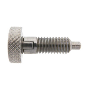 A knurled knob plunger with a locking nose and without a nylon patch