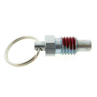 A standard pull ring plunger with a locking nose and a nylon patch