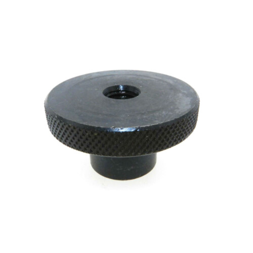 A knurled control knob with a tapped thru hole (inch)