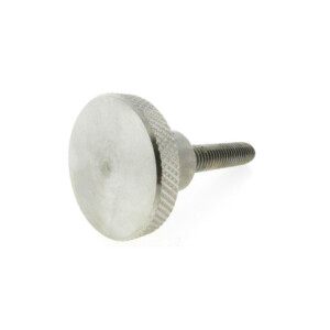 A knurled control knob with a threaded rod (metric)