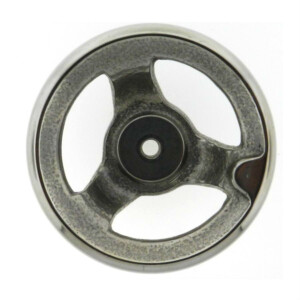 A stainless steel handwheel without a handle